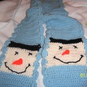 Child's Winter Scarf Novelty Snowman Handmade